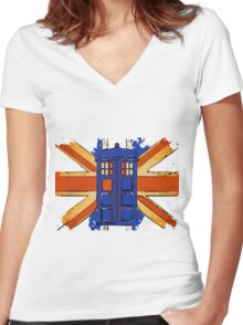 Dr Who - The Tardis - Vintage Jack Women's Fitted V-Neck T-Shirt