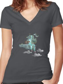 Low Poly Bear Fishing for Salmon Women's Fitted V-Neck T-Shirt