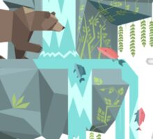 Low Poly Bear Fishing for Salmon Sticker