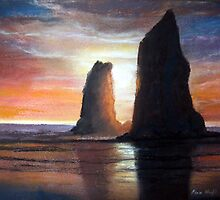 The Needles, Cannon Beach Oregon Pastel by Pagani