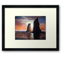 The Needles, Cannon Beach Oregon Pastel Framed Print