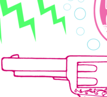 """""""Girl Interrupted"""" Thoughts, Quotes, Sayings, Funny, Humor, Typography, Gun, Hearts, Loaded, Neon, Pink, Blue, Green, Yellow, Thunderbolt, Cloud, Sticker"""