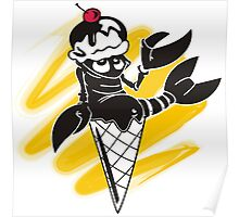 Funny summer lobster ice cream cone Poster