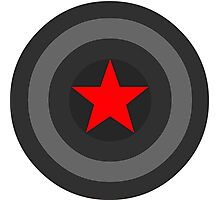 Black and White Shield With Red Star Photographic Print