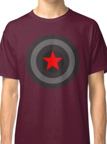 Black and White Shield With Red Star Classic T-Shirt