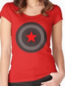 Black and White Shield With Red Star Women's Fitted Scoop T-Shirt