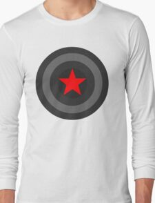 Black and White Shield With Red Star Long Sleeve T-Shirt
