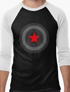 Black and White Shield With Red Star Men's Baseball ¾ T-Shirt
