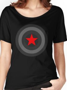Black and White Shield With Red Star Women's Relaxed Fit T-Shirt