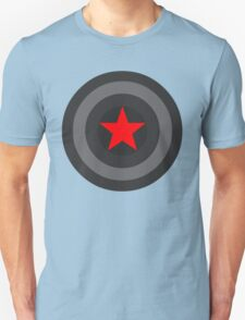 Black and White Shield With Red Star Unisex T-Shirt