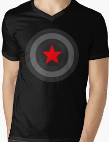 Black and White Shield With Red Star Mens V-Neck T-Shirt