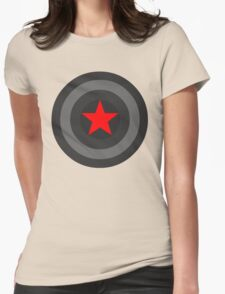 Black and White Shield With Red Star Womens Fitted T-Shirt