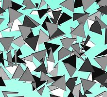 Modern Black, Grey, and White Geo Triangles Teal by Blkstrawberry