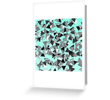 Modern Black, Grey, and White Geo Triangles Teal Greeting Card