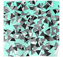 Modern Black, Grey, and White Geo Triangles Teal Poster
