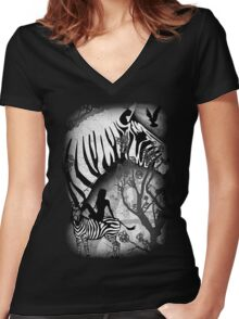 In My Black and White Dream Women's Fitted V-Neck T-Shirt