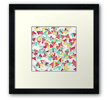 Modern Pink, Yellow, Teal, & Coral Geo Triangles Framed Print