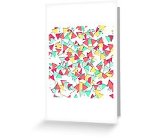 Modern Pink, Yellow, Teal, & Coral Geo Triangles Greeting Card