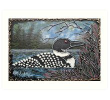 Loon At The Pines Art Print