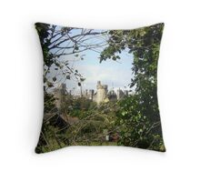 Arundel Castle from hedgerow Throw Pillow