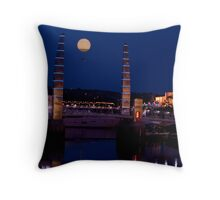 torquay harbour foot bridge and tethered balloon Throw Pillow