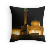 Kuwait Mosque lit up at night a beautiful Mosque in the Persian Gulf Throw Pillow