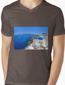 Santorini island, Greece Mens V-Neck T-Shirt