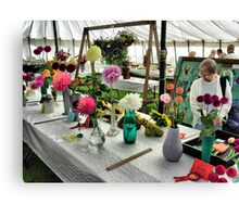 Admiring the prize winning flowers and vegetables at the Hawkesbury Upton Horticultural Show. Canvas Print