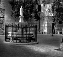 Church Court Yard ---- Mellieha Malta by Edwin  Catania
