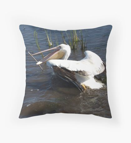 White Pelican in the marsh Throw Pillow