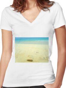 Cuban cigar on beach Women's Fitted V-Neck T-Shirt