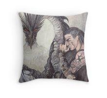 Kor-Gat and Black Dragon Throw Pillow
