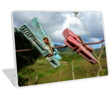 Two aged clothespin as friends on a clothes line Laptop Skin