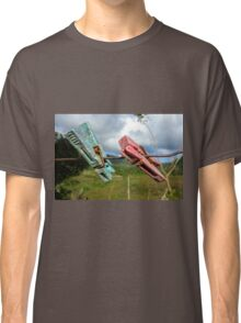 Two aged clothespin as friends on a clothes line Classic T-Shirt