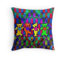 Dancing Bears Grateful Dead Psychedelic Design Throw Pillow