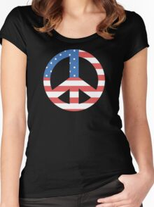 Peace Symbol with American Flag T-Shirt Women's Fitted Scoop T-Shirt