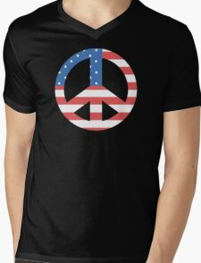 Peace Symbol with American Flag T-Shirt Mens V-Neck T-Shirt