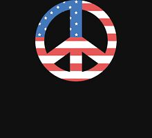 Peace Symbol with American Flag T-Shirt Womens Fitted T-Shirt