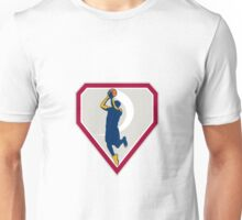 Basketball Player Jump Shot Ball Shield Retro Unisex T-Shirt