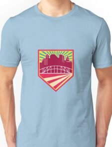 Skyscrapers and Bridge Retro Crest Unisex T-Shirt