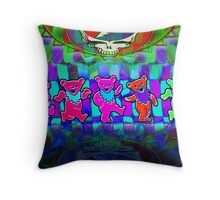 Grateful Bears 4 Psychedelic Optical Illusion Design Throw Pillow