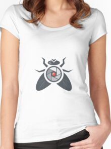 Fly with Camera Lens on Back Isolated Women's Fitted Scoop T-Shirt