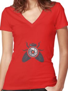 Fly with Camera Lens on Back Isolated Women's Fitted V-Neck T-Shirt