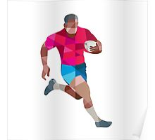 Rugby Player Running Side Low Polygon Poster