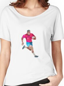 Rugby Player Running Side Low Polygon Women's Relaxed Fit T-Shirt