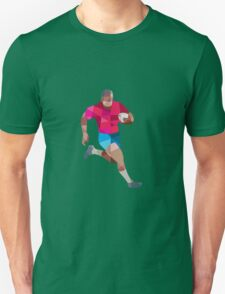 Rugby Player Running Side Low Polygon Unisex T-Shirt