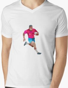 Rugby Player Running Side Low Polygon Mens V-Neck T-Shirt