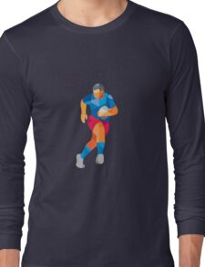 Rugby Player Running Low Polygon Long Sleeve T-Shirt