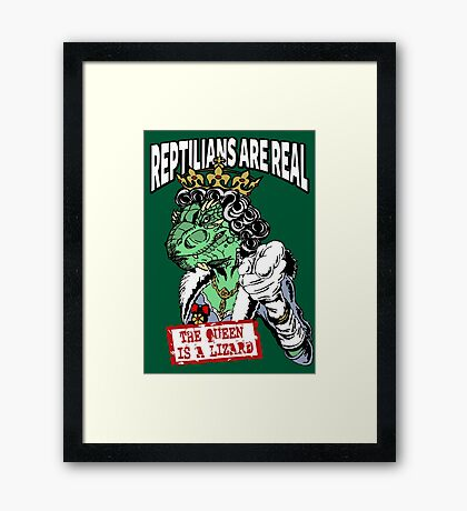 Reptilians Are Real - The Queen Is A Lizard Framed Print