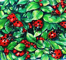Ladybugs in the Hedge by Heidi Cooper Smith